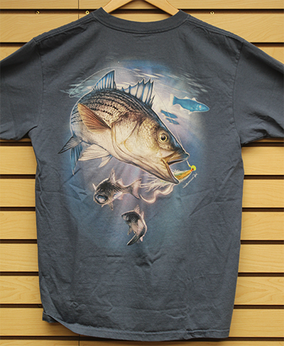 Scott's Striped Bass Tee with Pocket (Charcoal Blue)