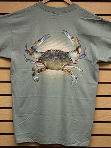 Scott's YOUTH LARGE Blue Claw Crab Tee with Pocket
