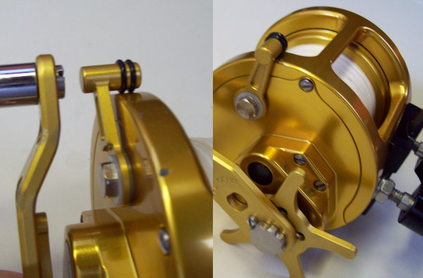 Sample of gold lever on gold custom framework (PRO-GEAR REEL SAMPLE)