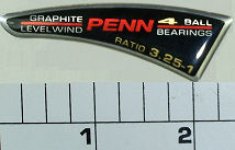 """238-340 Decal, Side Plate """"Penn and reel speed"""" & Ratio"""
