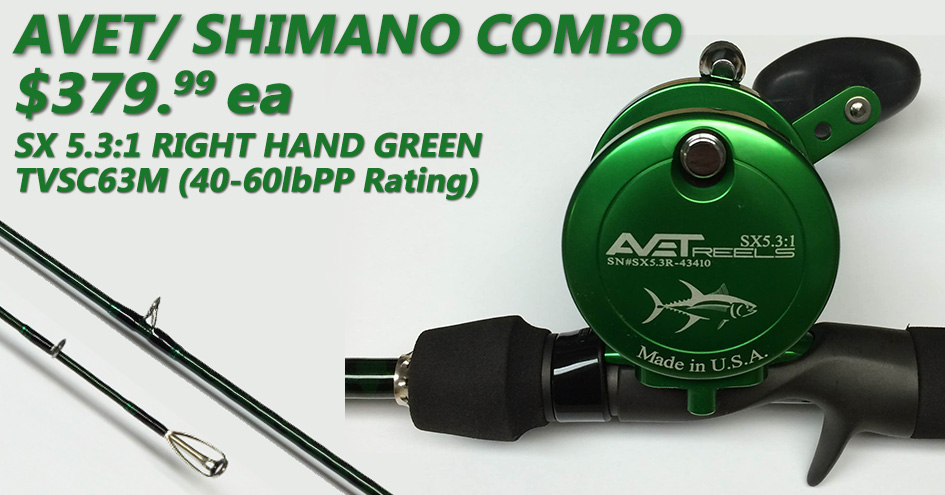Avet SX 5.3:1 Right Green/ Shimano Trevala S Combo